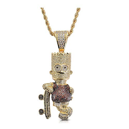 Cartoon Charakter Simpson Anhänger mit bunten Zirkon Hip Hop Halskette,Lila