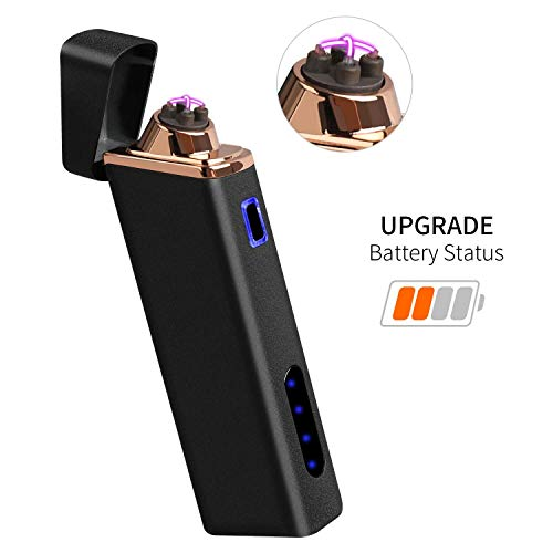 Upgraded Lighter, Electric Lighter USB Rechargeable Dual Arc Lighter Windproof Flameless Plasma Lighter with Battery Indicator for Fire, Cigarette, Pipes (Matte Black)