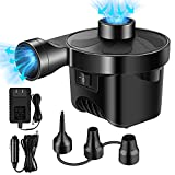 Natem Electric Air Pump for inflatables, Portable Air Mattress Pump with 3 Nozzles for Outdoor Camping Swimming, Quick-Fill Inflator & Deflator with Homeuse(AC 110V) & Vehicle(DC 12V) Power Adaptor