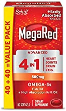 MegaRed Advanced 4 in 1 Omega-3 Fish Oil + Krill Oil, 80 Softgels (Pack of 2)