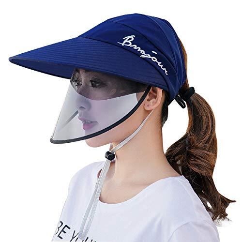 FEOYA Cappellino da Sole Protettivo per Donna Anti-Saliva Anti-Pollutionb Cappello da Sole Esterno con Visiera Trasparente di Sicurezza Cappuccio da Baseball Antivento Anti-UV Staccabile Blu Scuro