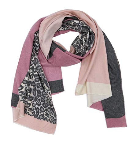 Trends für Dich Damen Schal mit LEOPARDEN Muster in Color Blocking Look mit Fransen edel und...