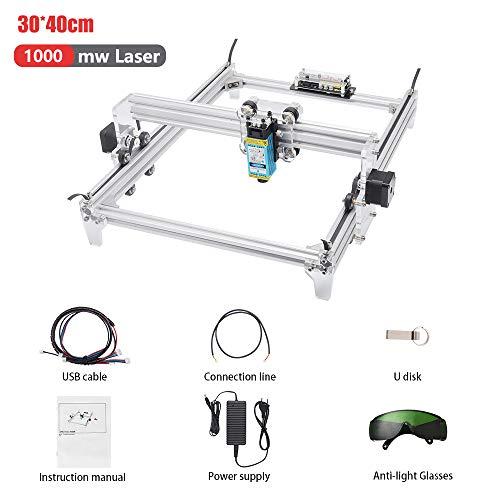 Kacsoo Laser Graviermaschine Kit, DIY Desktop Drucker Logo Bild Kennzeichnung Drucker, 12 V USB Holzschnitzerei Gravur Schneidemaschine (30x40cm, 1000mW)