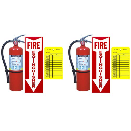 (Lot of 2) Buckeye 5 Lb. Type ABC Dry Chemical Fire Extinguishers with Wall Hooks, Signs and Inspection Tags