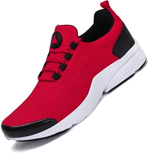Mishansha Turnschuhe Herren Laufschuhe rutschfeste Atmungsaktiv Gym Sportschuhe Outdoor Leichte Walkingschuhe Straßenlaufschuhe Rot1 44 EU