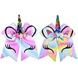 DEEKA Large Unicorn Cheer Hair Bows 2 Pack 7' for Teen Girls Cheerleader Sports