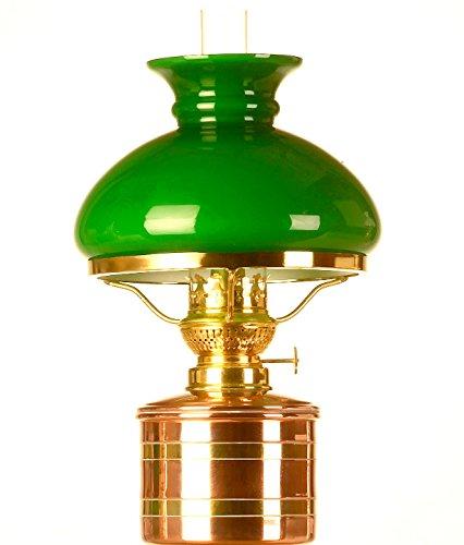 Elbe Petroleumlampe 3 Kupfer/Messing, 10''', grüner Vestaschirm, Made in Germany