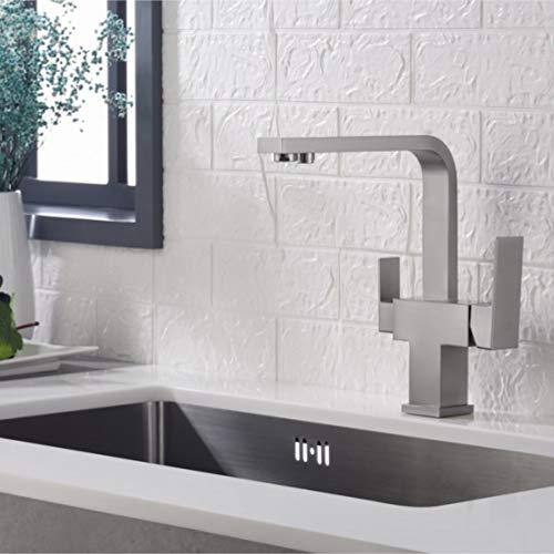 Bluewater TAUPO - Grifo de 3 vías para filtro de agua (aspecto de acero inoxidable)