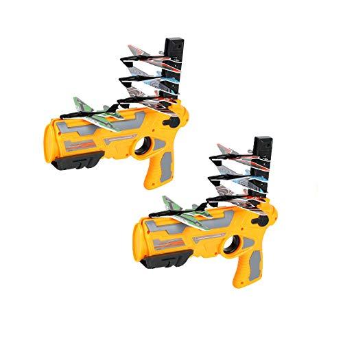 RCinkyko Katapult Flugzeug Spielzeug, Blase Katapult Flugzeug,Schießspielzeug für Kinder mit 4 Pcs Gleiter Flugzeug Launcher, Spaß Outdoor-Spielzeug Geschenke für Kinder (2 Set Gelb)