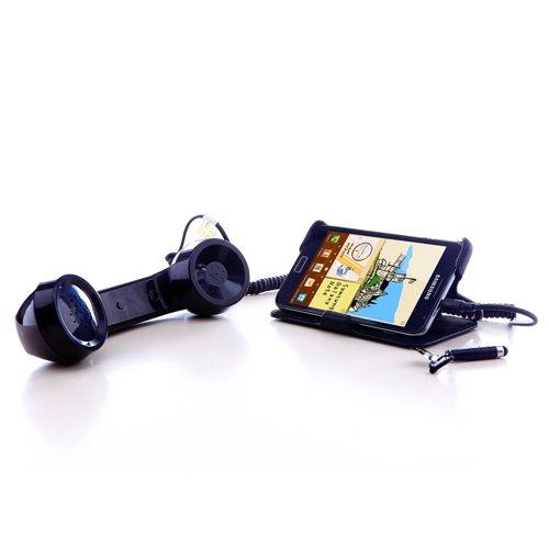 LEICKE Retro Teléfono auricular, micrófono y altavoz para Smartphones y Celulares - 3,5 mm Conector macho - negro brillante