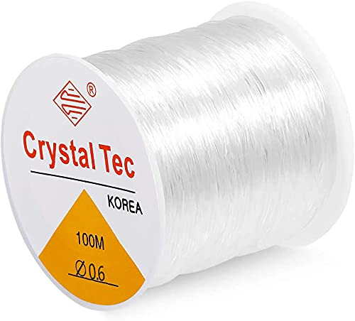 0.6mm Elastic String for Bracelets Jewelry Making, 100-Meter Bracelet String Elastic Stretchy String Thread for Seed Beads Pony Beads Letter Beads Beading String (White, 0.6mm)