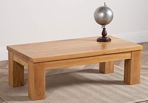 Dakota Chunky Oak Large Coffee Table for Living Room | Light Oak Wooden Coffee Table | Rectangular 92 x 60 cm Low Living Room Tables | Dakota By Oak Furniture King
