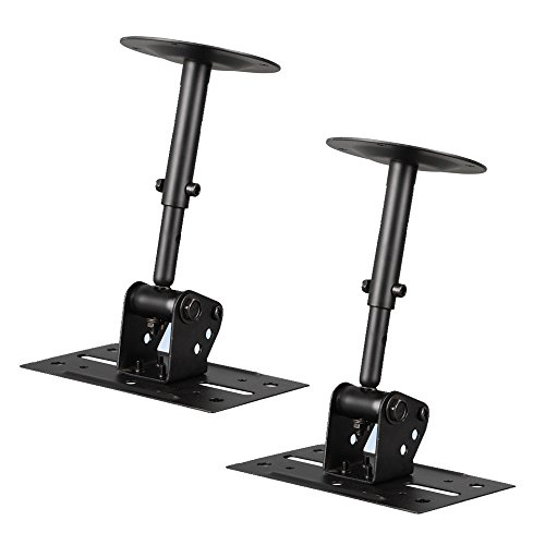 Speaker Wall Ceiling Mount Stand - Black Speaker Mounting Bracket w/ Adjustable Swivel Tilt, Retractable Telescopic Arm - Home Surround Sound System Bookshelf Satellite Speakers - Pyle PSTNDC31 (Pair)
