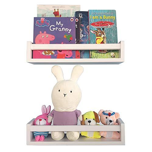 Wood Nursery Shelves White Set of 2-Floating Bookshelf for Kids- Perfect Nursery Decor for Baby's Room Kitchen Bedroom and Bathroom Too