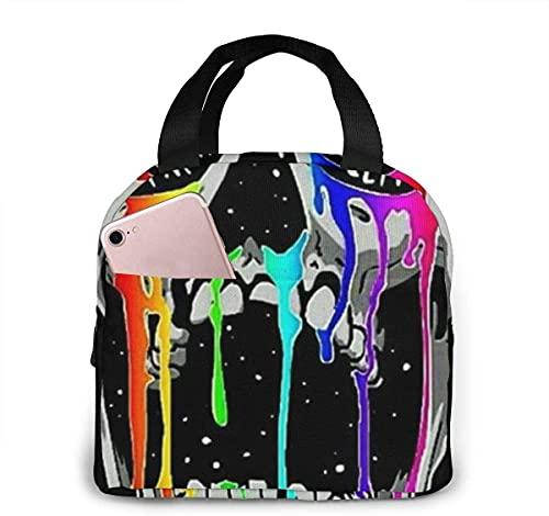 Bolsa de almuerzo portátil con calavera de graffiti y llanto divertido y divertida para mujeres y niñas adolescentes, lonchera aislada para viajes de trabajo y escuela