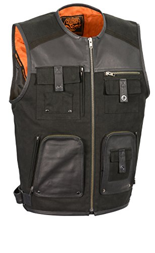 Milwaukee Performance Mens Twill/Leather Combo Fishermen Vest (Black, X-Large)
