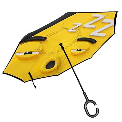 Dliuxf Nettes Regenschirm-Karikatur-Monster-emotionales schläfriges Gesicht 3D mit Augenbrauen-rundem Mund-Auto-Rückseite umgewandeltem winddichtem UVschutz-Regenschirm -K176