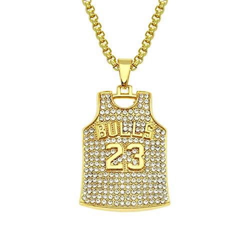 LONG-D Hip Hop, Collar con Colgante De Acero Inoxidable para Hombre Y Mujer, Collar con Número 23, Estilo Baloncesto, Jersey, Rock,L