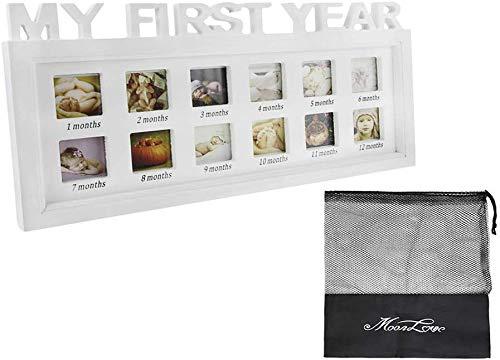 Il mio primo anno cornice portafoto in legno Set neonato footprint Handprint Frame touch Hand and Foot Print kit con sicura clean-touch Ink Pad Baby Gift Idea for Baby giorni di compleanno