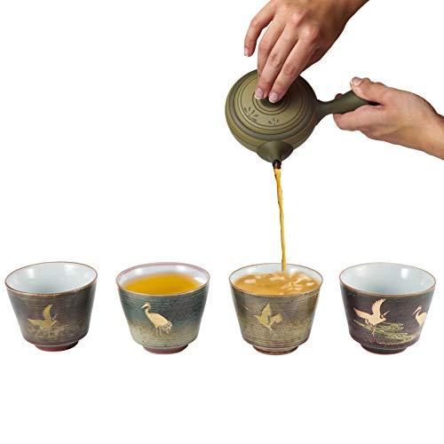 Juego de tazas de té de café 4 piezas Retro Horno al horno Juego de tazas de té de cerámica de estilo japonés Kung Fu Teaware para café, capuchino, latte, americano y té(segundo)