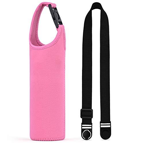 斜め掛けや手提げの携帯水筒カバー サーモス/象印/タイガー300-500ml携帯魔法瓶用の交換できるカバー 調節可能なショルダーストラップ付き 持ち運ぶのに便利な断熱水筒ケース 子供でも大人でも適用 (ピンク)