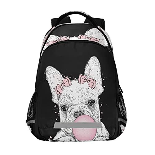 Backpack Bookbag Cute French Bulldog School Bag Travel Bag for Girls Boys Teen Age 6-12