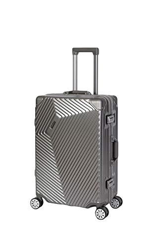 Travelhouse Roma Koffer grau M-65cm · Alu Rahmen · Polykarbonat Hartschale · Reisegepäck Reisetrolley Trolley · 2X TSA Zahlenschloss · 67L