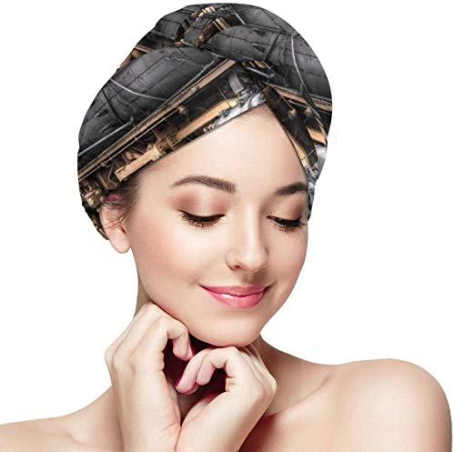 Turbante de Toalla de Microfibra súper Absorbente de Tren Negro con diseño de botón,Turbante de Pelo para secar el Cabello Mojado para Mujeres y niñas