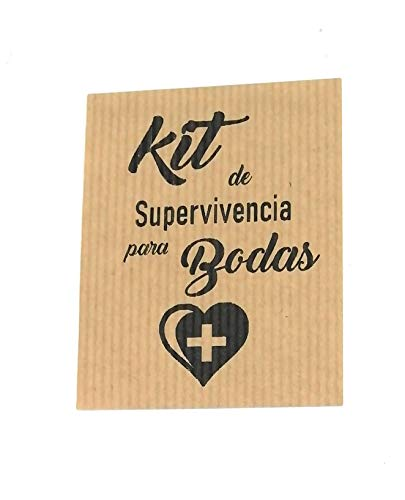 50 Etiquetas kraft adhesivas kit supervivencia para bodas