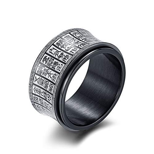 De eenvoudige stalen ring voor mannen en vrouwen van wolfraam met gouden letters, zwart, trend, punk, hip hop, creatieve cadeauliefhebbers, vintage stijl. 7