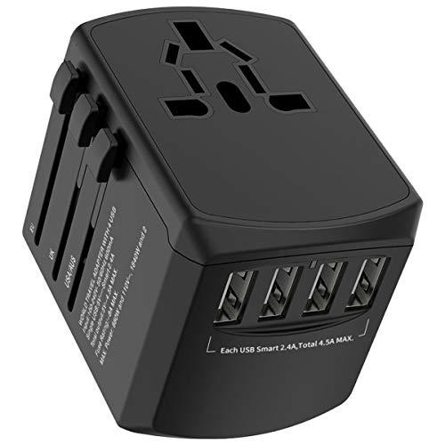 Universal Reiseadapter Reisestecker, Internationaler Steckeradapter mit 4 USB Anschlüssen, 8 polige Netzsteckdose mit Ersatzsicherung,für Multinationale Reisen in USA,UK,EU,AU,Asien 200 Ländern