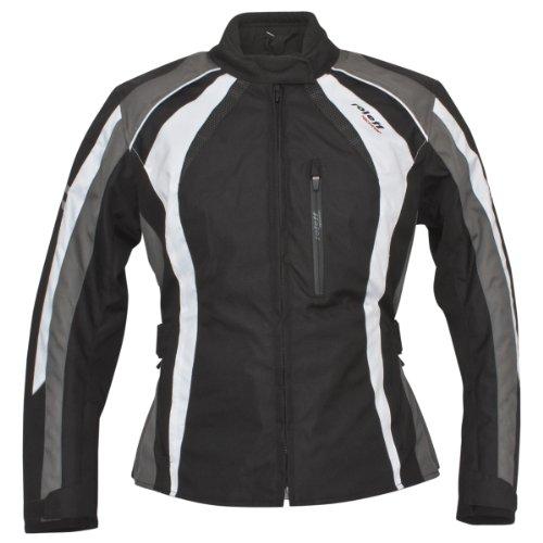 Roleff RACEWEAR Damen Motorradjacke Venedig RO 980, schwarz/weiß/grau, XL, 9805