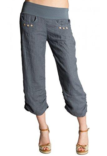 CASPAR KHS017 Damen 3/4 Leinen Hose, Farbe:grau, Größe:M - DE38 UK10 IT42 ES40 US8