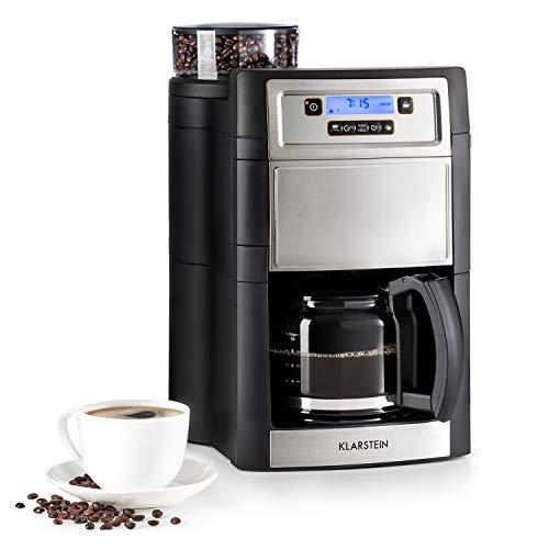 Klarstein Aromatica II Kaffeemaschine mit Mahlwerk - Filter-Kaffeemaschine, 1000 Watt, Timer, inkl. Permanent- und Aktivkohle Filter, 1.25 Liter Glaskanne, silber