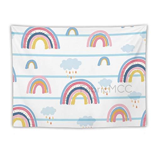Tr674gs Tapiz para colgar en la pared, diseño de nubes de arco iris, decoración del hogar, para sala de estar, dormitorio, decoración de dormitorio, 152,2 x 20,3 cm