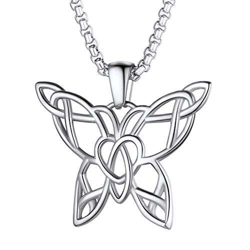 PROSTEEL Butterfly Necklaces for Women Teen Girls Chain Pendant Stainless Steel Jewelry Chic Dainty Celtic Love Knot Necklace