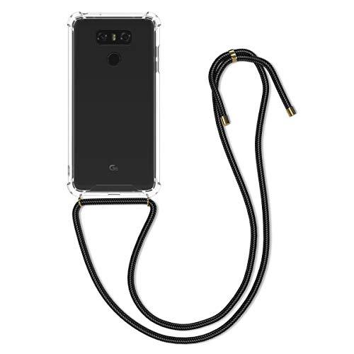 kwmobile Funda con Cuerda Compatible con LG G6 - Carcasa Transparente de TPU con Cuerda para Colgar en el Cuello