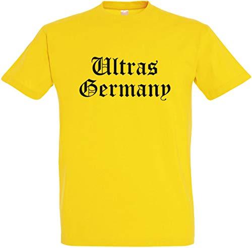 Herren T-Shirt Ultras Germany (L, Gelb)