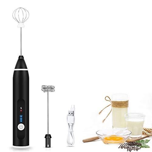 Auderhine - Schiumalatte elettrico portatile per caffè, cioccolato caldo, latte, miscelatore per bevande a lunga durata, con frusta in acciaio inox, kit di ricambio incluso Nero