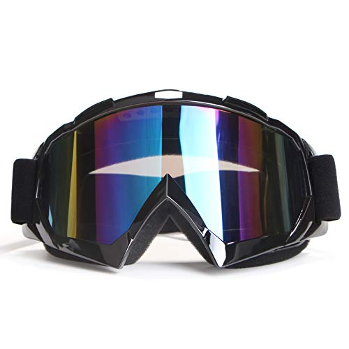 Motorcycle Goggles Dirt Bike Goggles Motocross Goggles Windproof ATV Goggles Dustproof Dirtbike Goggle Offroad Goggles Anti-Scratch Dirtbike Goggles PU Resin Skiing Goggles (Black frame+Color lens)