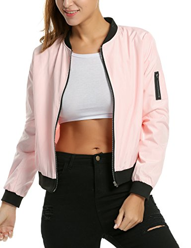 Zeagoo Womens Classic Quilted Jacket Short Bomber Jacket Coat, Pink, X-Large