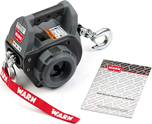 WARN 101570 Handheld Portable Drill Winch with 40 Foot Steel Wire Rope: 750 lb Pulling Capacity
