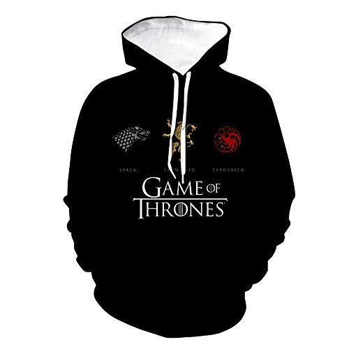 Game of Thrones Pullover Felpa Allentata Felpa Allentata con Stampa Creativa con Cappuccio e Pullover Unisex (Color : A02, Size : XXL)
