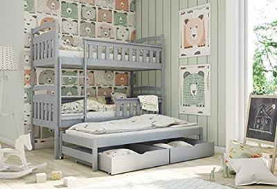 Modern Kids Children Wooden Solid Pine Bunk Bed HARRIET With Storage Drawers in GREY sold by Arthauss