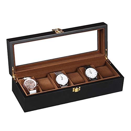 Uhrenbox aus klarem Glas mit Holzdeckel, für 6 Uhren 31.3X11X8CM schwarz