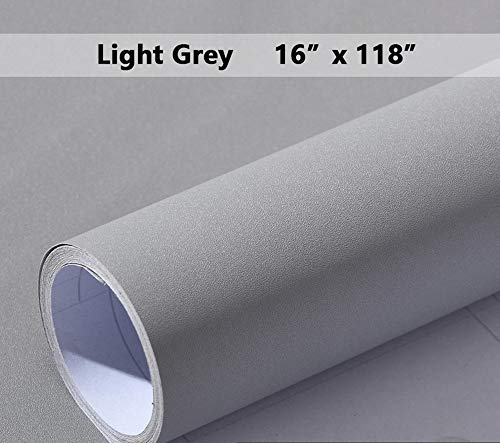 Grey Self-Adhesive Wallpaper Film Stick Paper Easy to Apply Peel and Stick Wallpaper Decorative Shelf Liner Table and Door Reform16'x118'