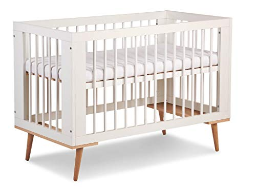 123home24.com Kinderzimmer Sternchen 4-teilig Babybett Kommode Schrank Regal im skandinavischen Stil Komplettset (Babybett)