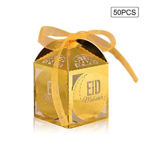 Remote.S 50 stuks snoepdoosjes Islam moslim eid Al-Fitr lasergesneden holle ruimtes gastgeschenken voor bruiloft met band