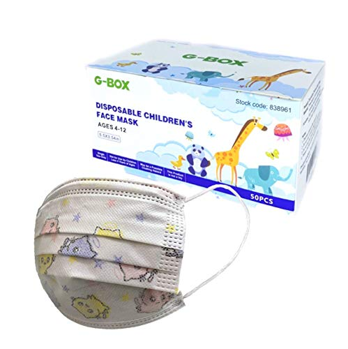 G-Box 3-Ply Kids Face Masks, Childrens Face Masks Disposable, 3-Layer, Cute Cartoon Patterns(50-pcs) (White Kitties)