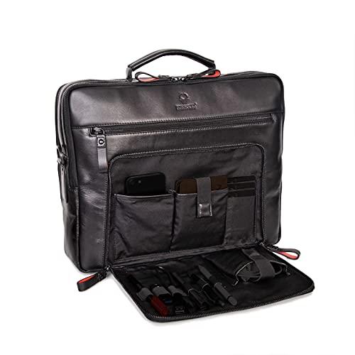 Borsa per laptop DONBOLSO San Francisco da 17 pollici | Cuoio | Borsa a tracolla per laptop | Cartella per notebook |Borsa per uomini e donne (nera)